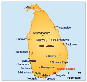 Location map for Ocean's Edge, Sri Lanka, South Coast ...
